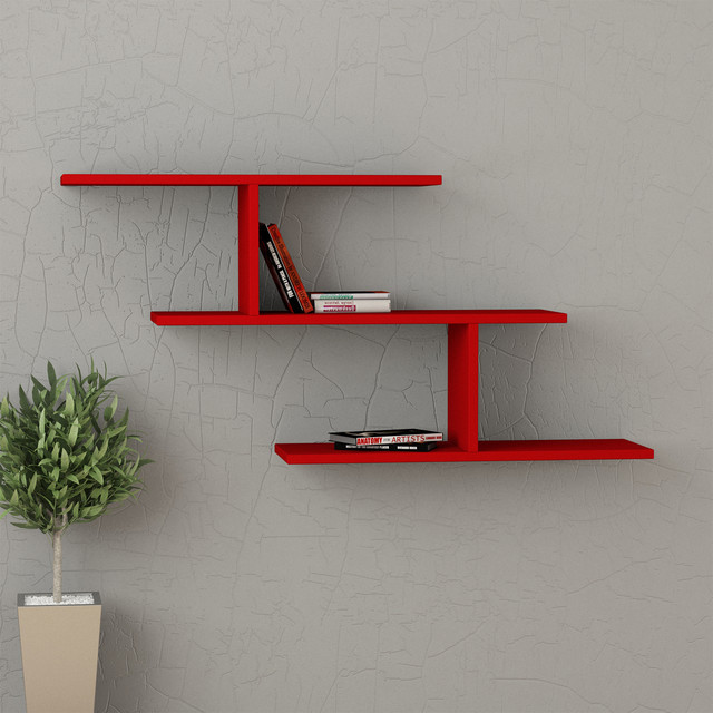 Misi wall shelf red contemporary display and wall for Contemporary display shelves