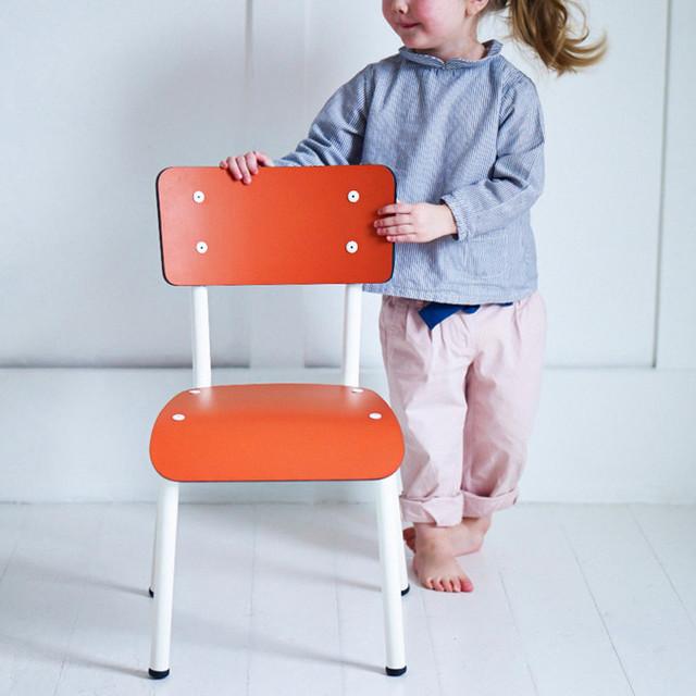 Retro mini chair pumpkin orange midcentury kids chairs for Orange kids chair