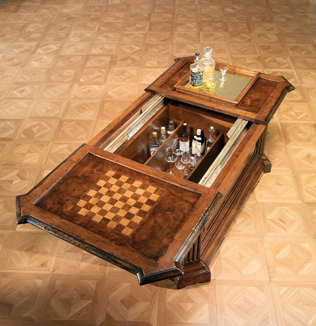 Rustic Coffee Table With Inlaid Chess Board And Interior