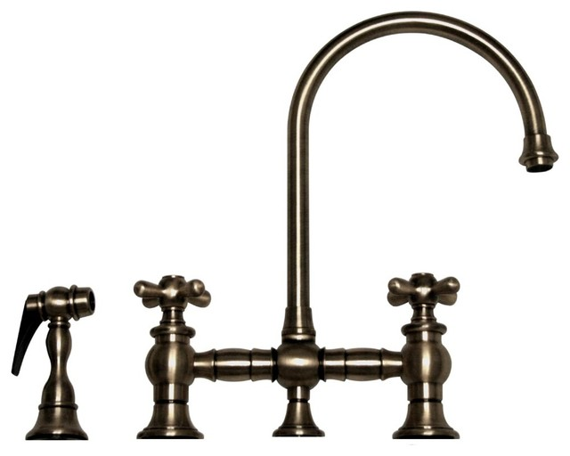 Vintage III Bridge Faucet Long Gooseneck Swivel Spout