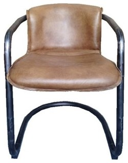 Full grain genuine leather dining chair whiskey modern for Genuine leather dining room chairs