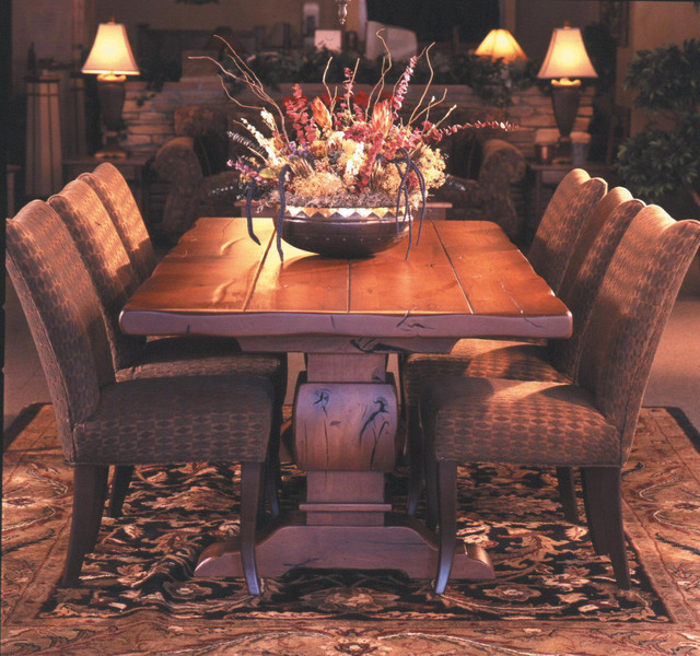 Knotty Alder Trestle Table With 3 Quot Thick Top Rustic
