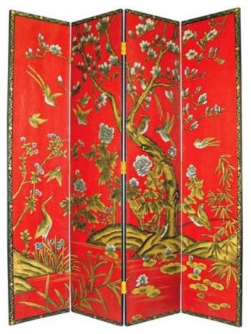 Tree Of Life Hand Painted Japanese Room Divider Screen