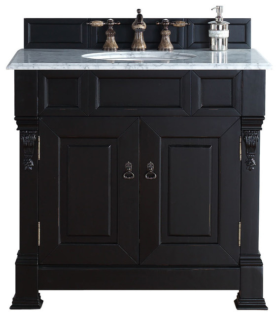 James Martin Brookfield 36 Antique Black Single Vanity Carrera White S