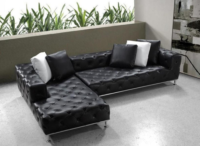 Elegant Tufted Full Leather Corner Couch Contemporary