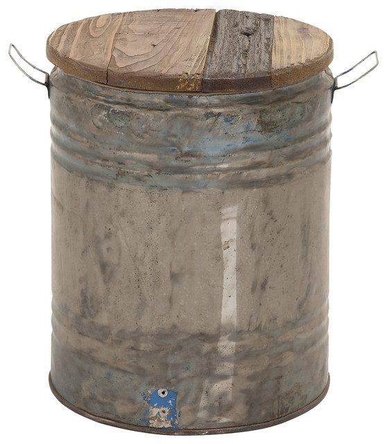 Metal Wood Drum Stool Farmhouse Accent And Garden