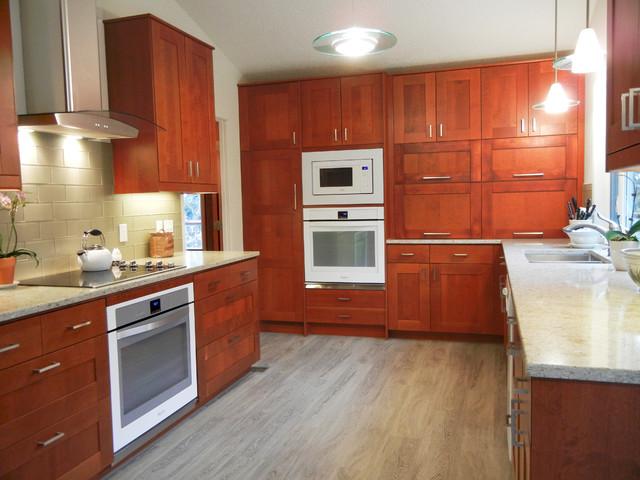 Adel Medium brown IKEA cabinet with white quartz