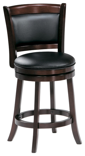 Homelegance edmond swivel pub chair in dark cherry - Traditional kitchen bar stools ...