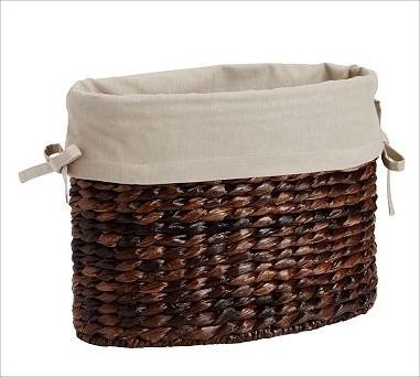 Savannah Havana Magazine Basket Oval Basket Liner Flax