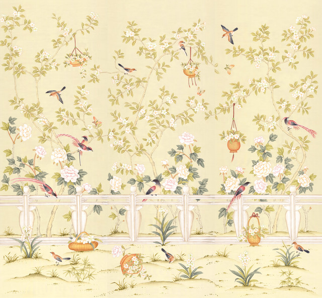 Chinoiserie wall mural adriana cream large asian wallpaper for Chinese wallpaper mural