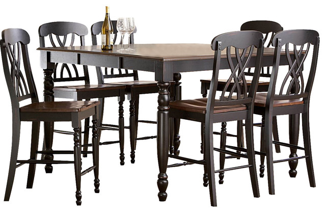 Homelegance ohana 7 piece counter height dining room set for Traditional black dining room sets