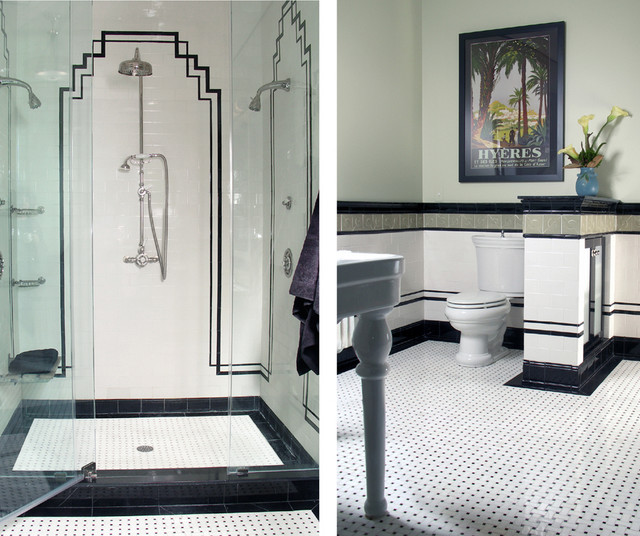 Art deco bathroom for Traditional art deco interior design