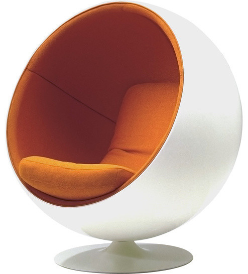 Modern ball chair eero aarnio globe chair white shell orange fabric midcent - Ball chair by eero aarnio ...