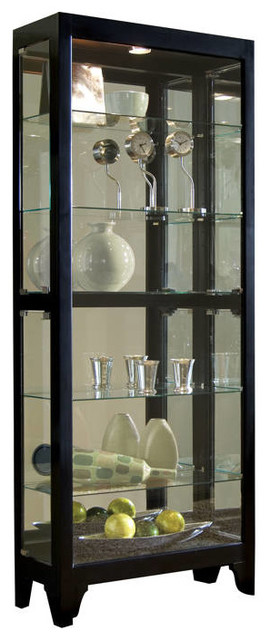 Madison Modern Black Wood Glass Curio - Modern - China Cabinets And ...