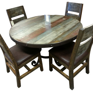 Antique Multi Color Pine 5pc Dining Set - Industrial - Dining Sets - chicago - by Cozy Cottage ...