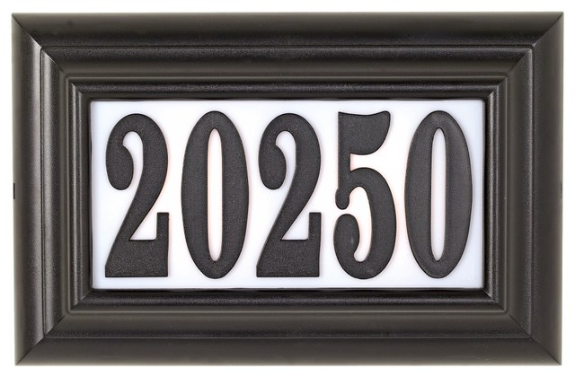 Edgewood classic lighted address plaque contemporary house for Classic house number plaque