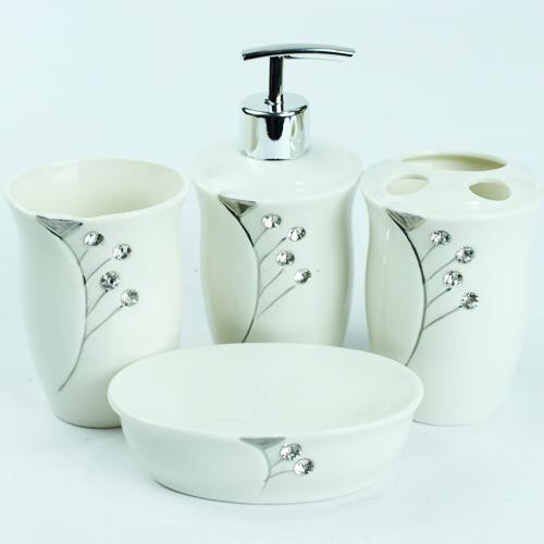 4 Pcs Gorgeous Bathroom Accessory Set with Diamonds - by ...