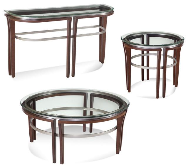 Bassett Mirror Fusion Round 3 Piece Cocktail Table Set