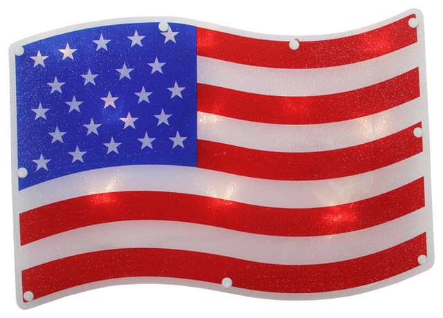 B o led patriotic 4th of july american flag window for American flag decoration