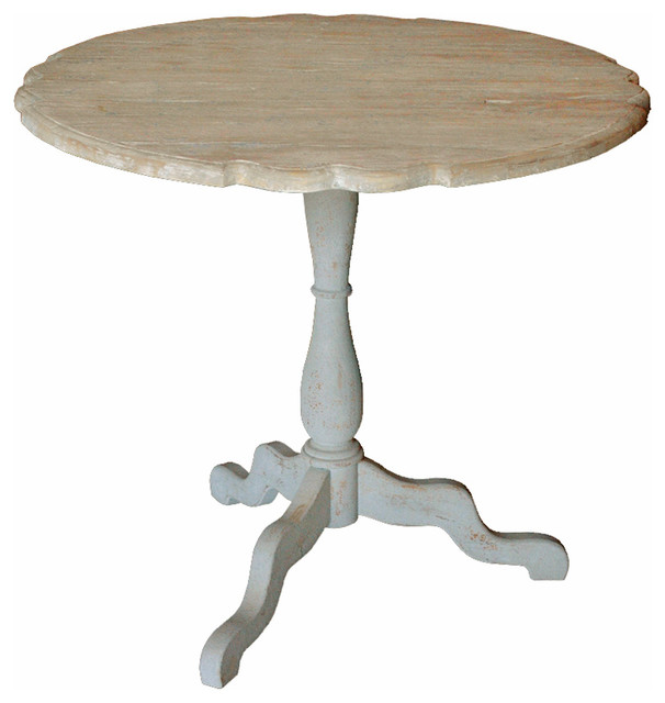 French Stamped Mango Coffee Table: Jolie French Country Antique Grey Pine Wood Scalloped Side