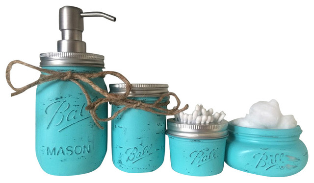 Mason jar bathroom 4 piece set light turquoise for Turquoise bathroom accessories sets