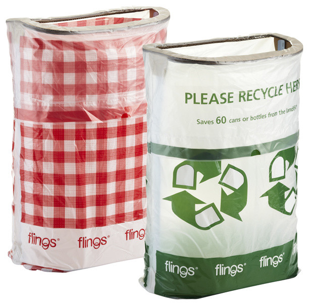 flings pop up trash bin gingham trash and recycling accessories by the container store. Black Bedroom Furniture Sets. Home Design Ideas