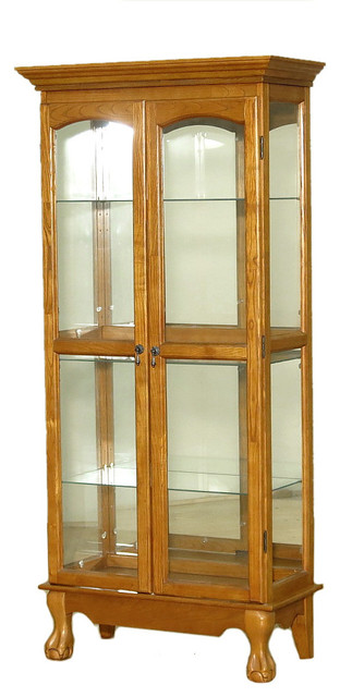 Consigned, Vintage Golden Oak Chippendale Curio Display ...