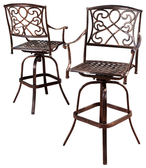 Outdoor Swivel Bar Stool Set Cast Aluminum