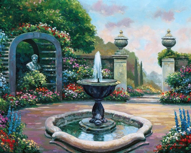 Renaissance garden wall mural traditional wallpaper for Mural garden