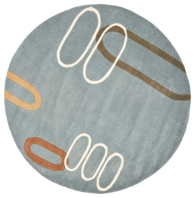 6 ft contemporary round rug in blue contemporary area for Round contemporary area rugs
