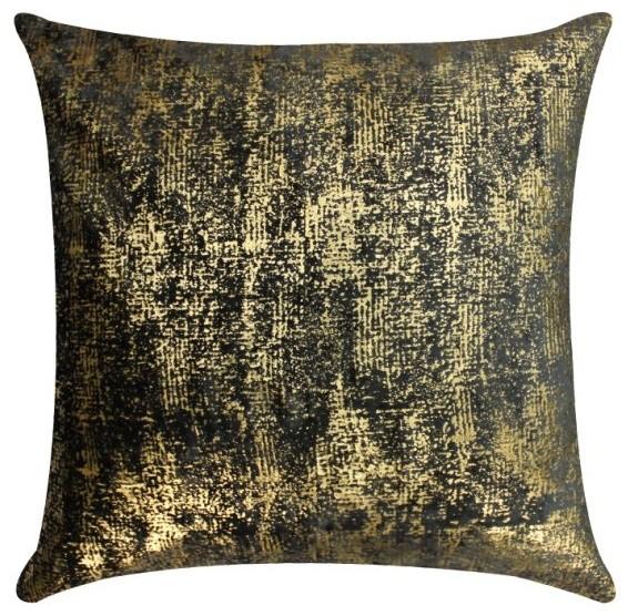 Gold Foil Decorative Pillow : Gray Velvet Pillow With Gold Foil - Modern - Decorative Pillows - by Cloud9 Design