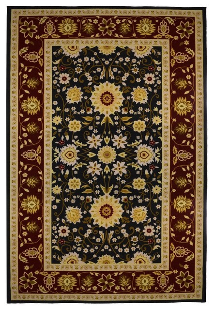 Traditional Maroon and Black Oriental Floral Area Rug 5