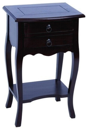 Wooden accent table in brown finish with functional design for Functional side table