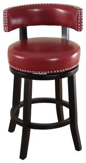 Mossoro Red Swivel Leather Counter Stool Modern Bar