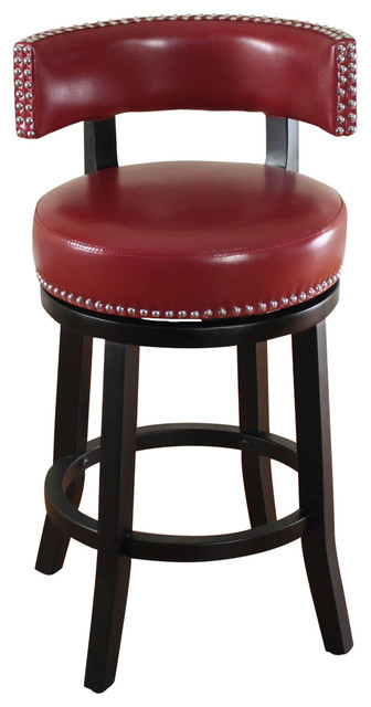 Mossoro Red Swivel Leather Counter Stool Modern Bar
