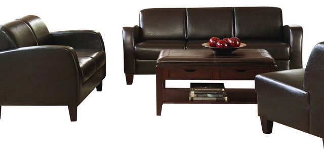 Homelegance allen 3 piece vinyl living room set in dark for 8 piece living room furniture