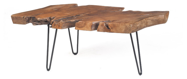 Teak Slab Coffee Table With Hair Pin Legs Contemporary