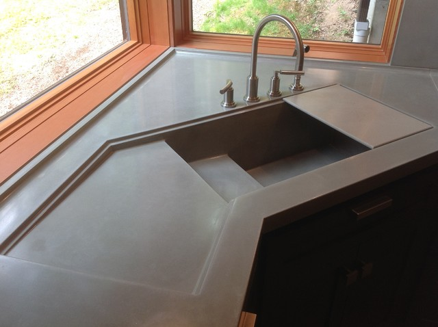 Integral Concrete Kitchen Sink Contemporary Kitchen Sinks Seattle By Vc Studio Inc
