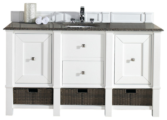 Madison 60 Cottage White Single Vanity Tropical Brown Stone Top Beach Style Bathroom