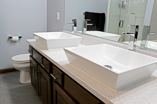 Quartz Vessel Sink : ... Quartz and Rectangle Vessel Sink - Transitional - Bathroom Sinks - by
