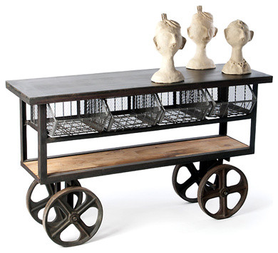 Industrial Rolling Console Table Eclectic Kitchen