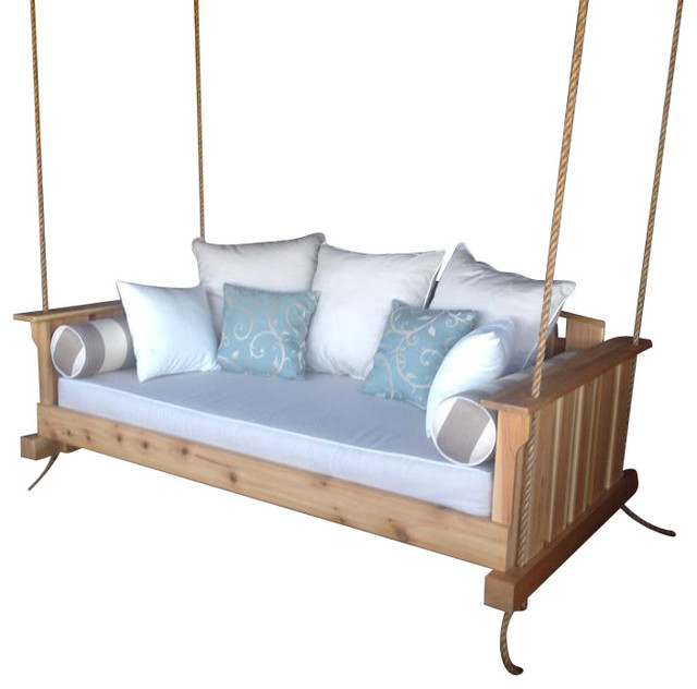 "Porch Swing: The ""Daniel Island"" Swing Bed (Bedswing), Bare Cedar, Twin Size - Farmhouse - Porch ..."