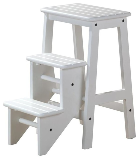3 Step Wood Step Stool In White Finish Contemporary