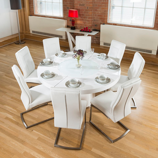 Stunning dining sets modern dining table sets by quatropi limited - Round white gloss dining table ...