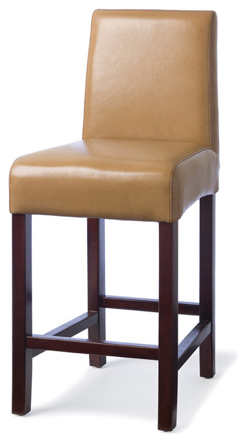 Palecek hudson leather barstool with brown stitch 24 - Traditional kitchen bar stools ...
