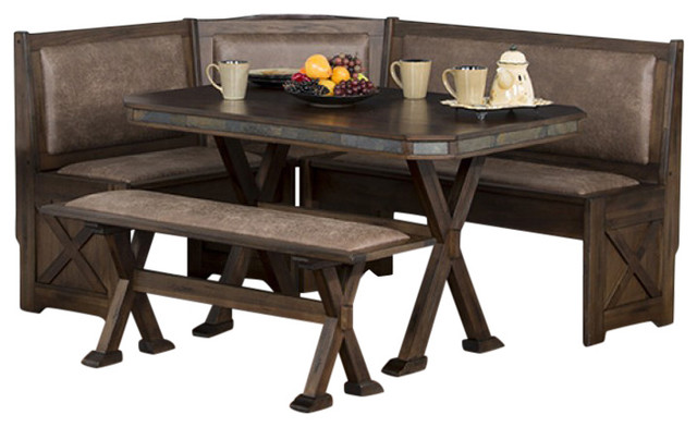 Sunny designs 0222ac savannah breakfast nook set with side bench traditional dining sets - Kitchen nook sets ...