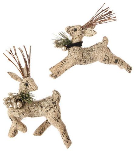 Raz Burlap Deer Ornament Rustic Christmas Ornaments