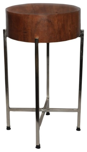 Slim mango wood stool table sura with silver legs for Slim side table
