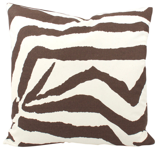 Safari Animal Print Throw Pillow, 18x18, Zebra - Decorative Pillows - by Chloe and Olive LLC