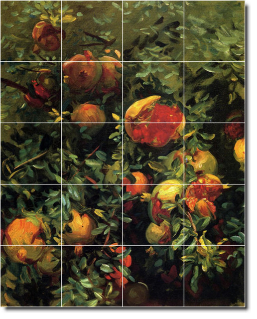 John sargent fruit vegetables painting ceramic tile mural for Ceramic mural painting